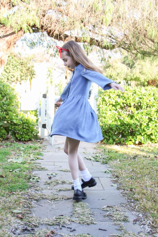 Bunny's Roald Dahl Matilda costume // Mini Darling Ranges dress in chambray // Megan Nielsen Design Diary