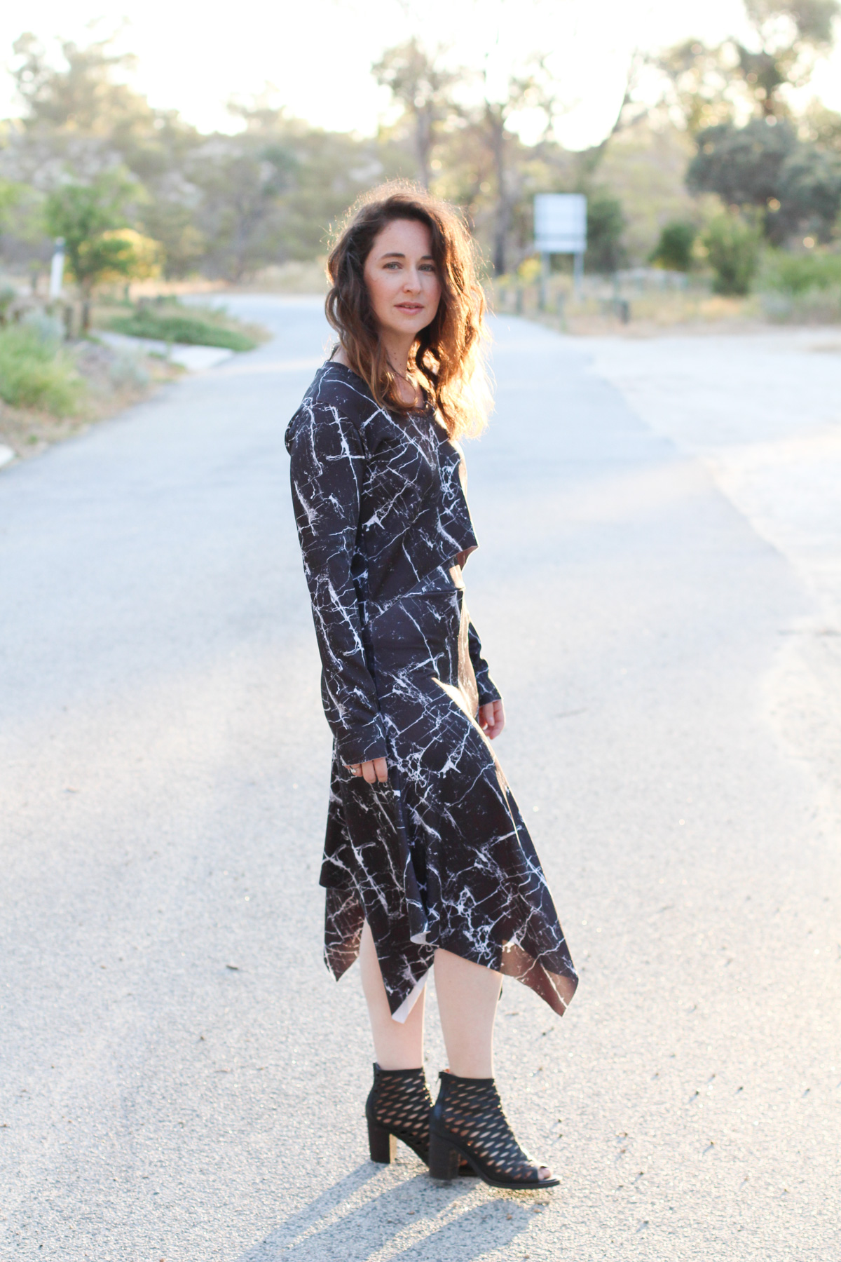 Megan Nielsen Briar top and Axel skirt in marble print scuba from Mood Fabrics