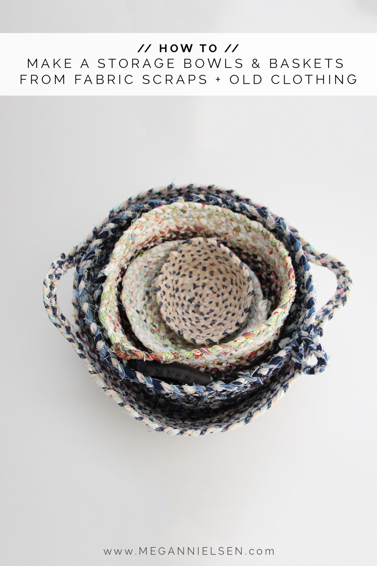 How to make beautiful storage bowls and baskets from your fabric scraps and worn out old clothing // Megan Nielsen Design Diary