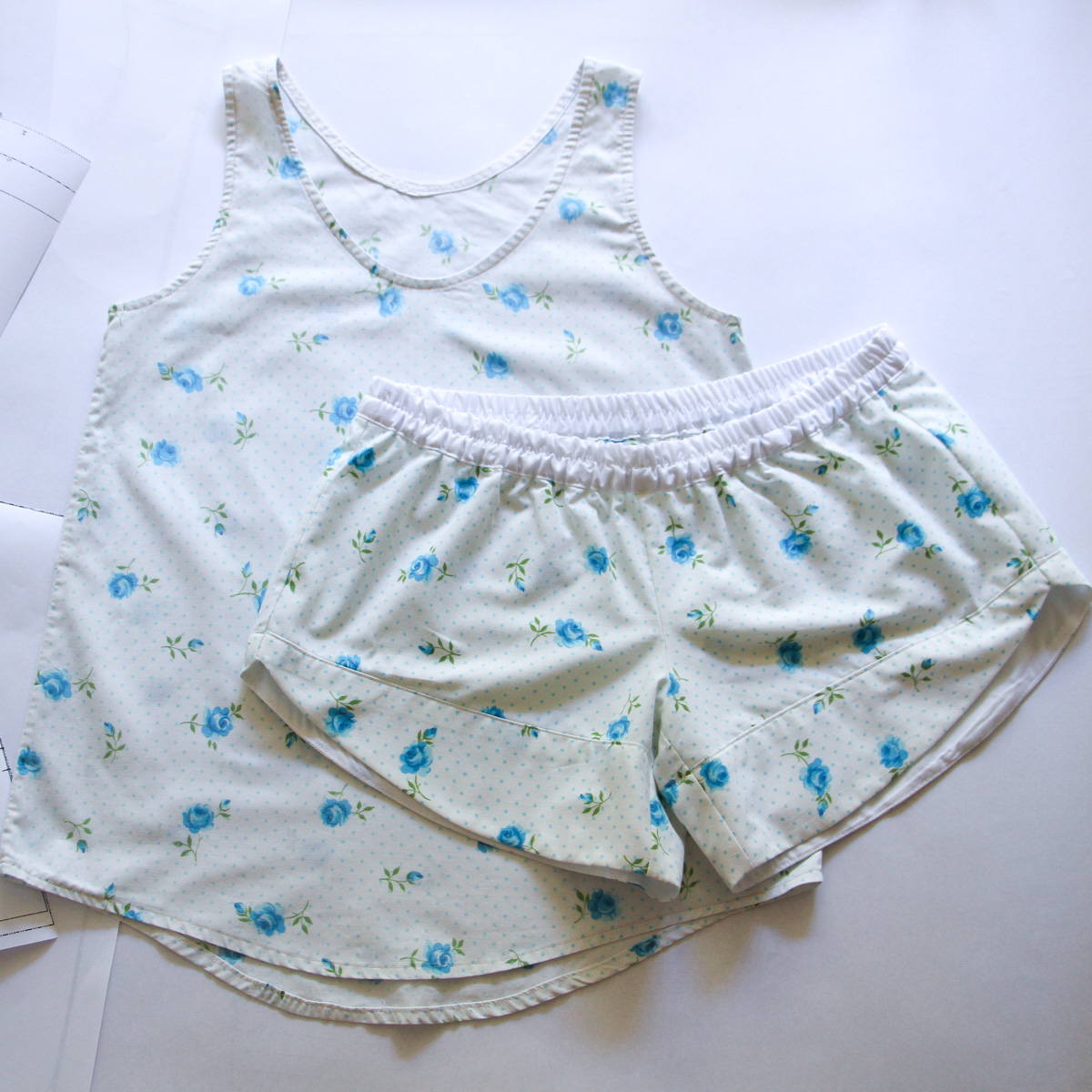 Eucalpyt tank and Reef shorts pajama set made from an old thrifted sheet!