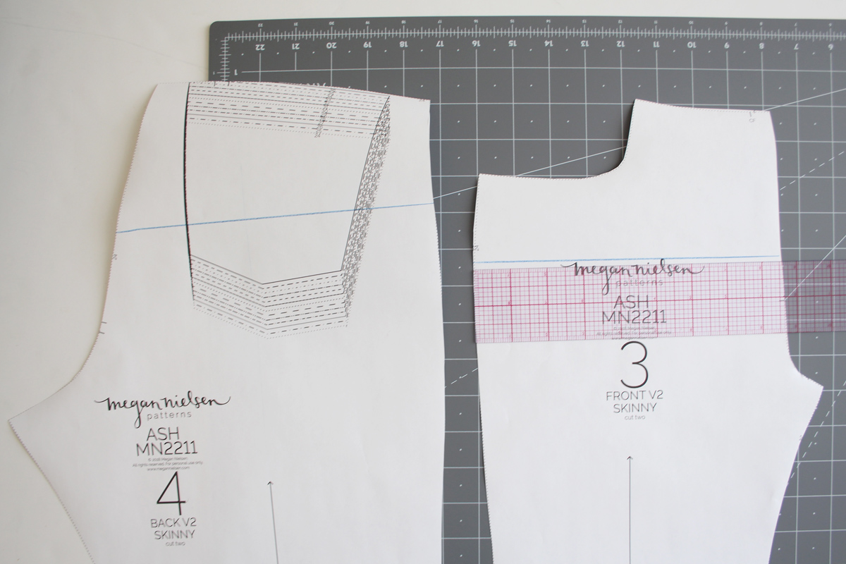 How to adjust the rise on the Ash Jeans by Megan Nielsen Patterns