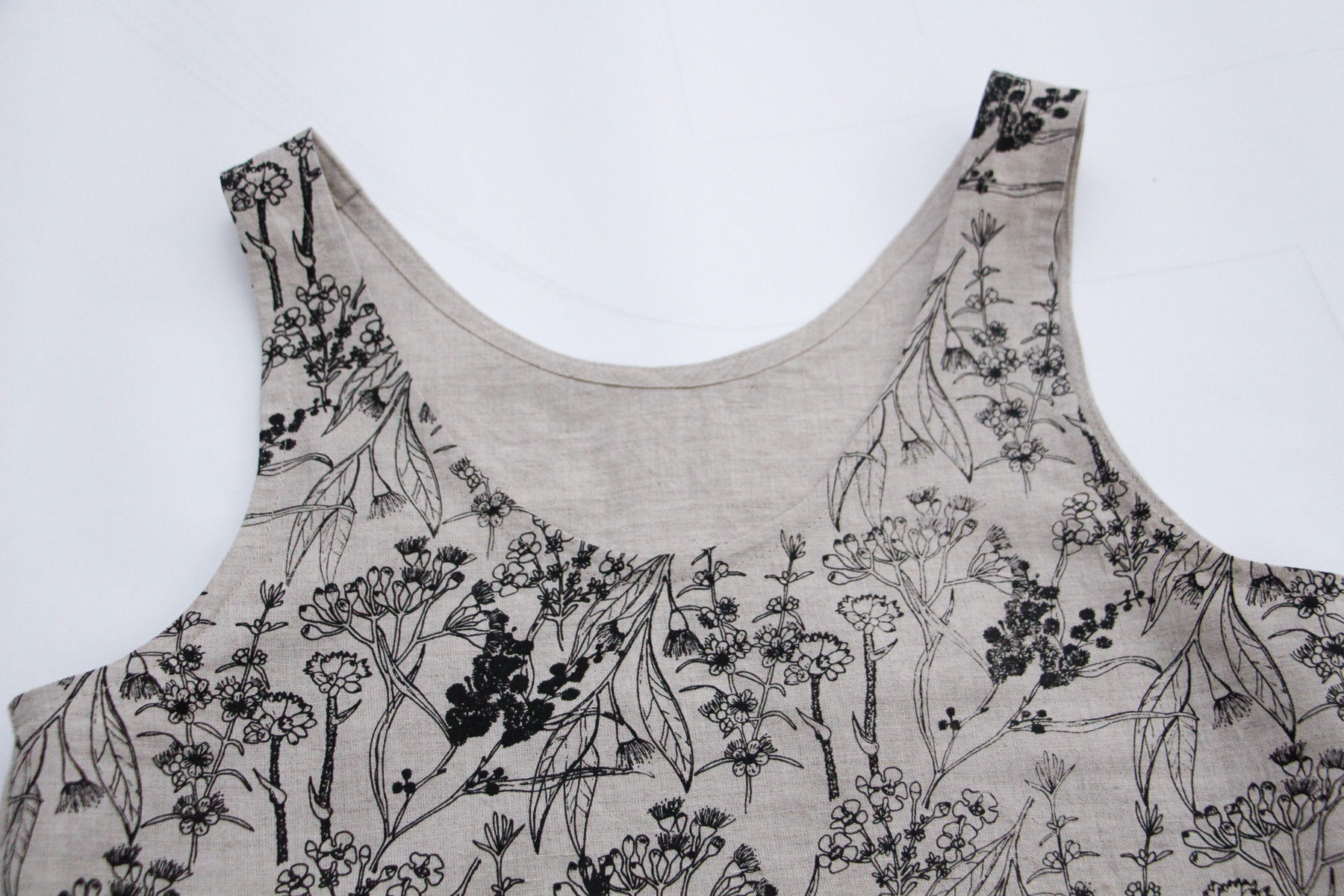 Eucalypt tank top made from linen designed and hand screen printed by Megan Nielsen
