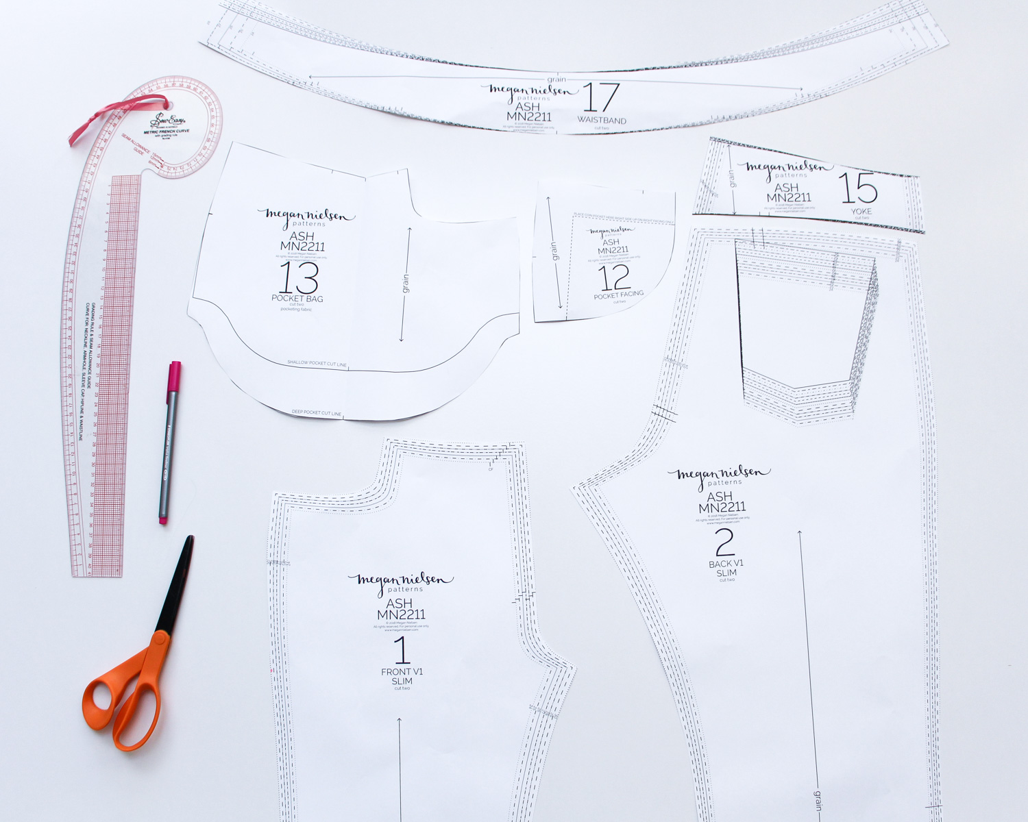 How to choose your jeans size and grade between sizes // Ash jeans sewalong on Megan Nielsen Design Diary