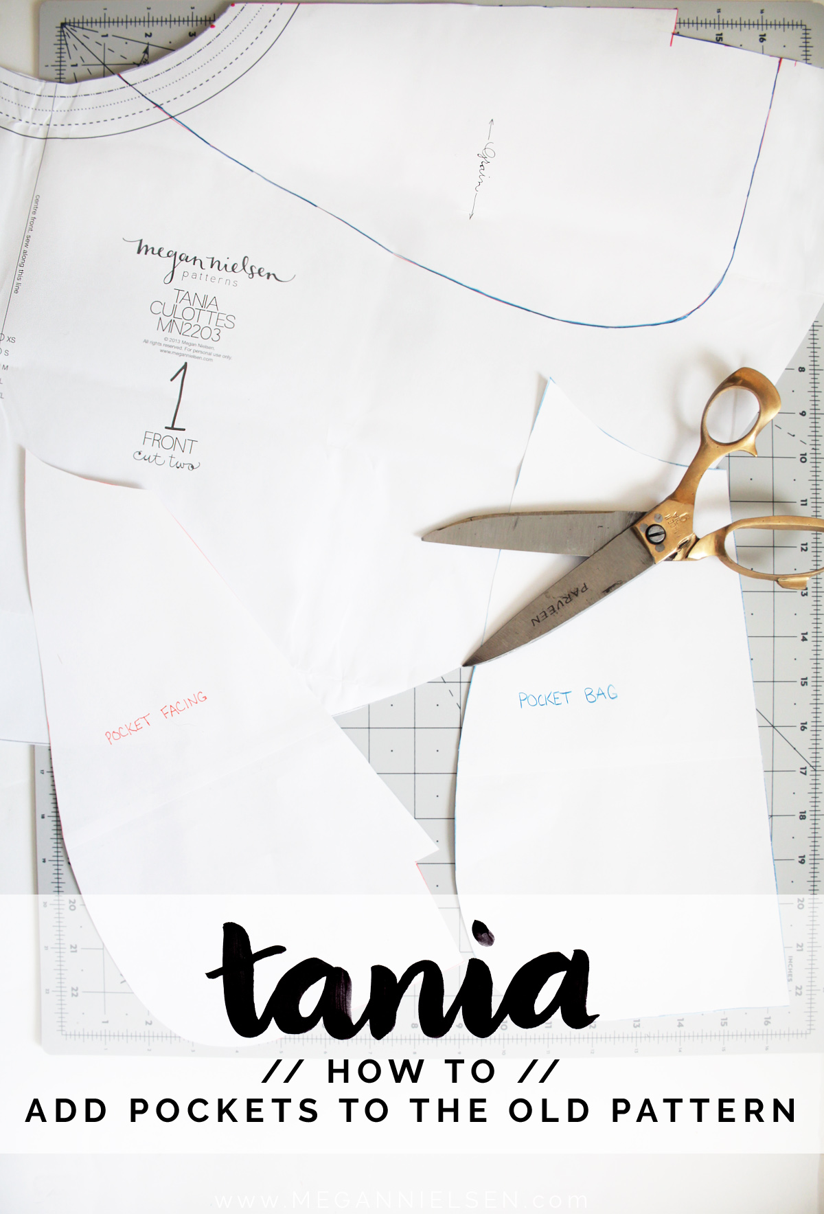 how to add the pockets to the old version of the Tania Culottes by Megan Nielsen Patterns