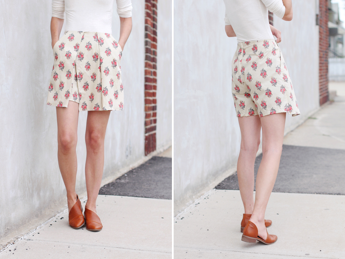 How to sew the skort version of the Harper shorts Megan Nielsen Patterns