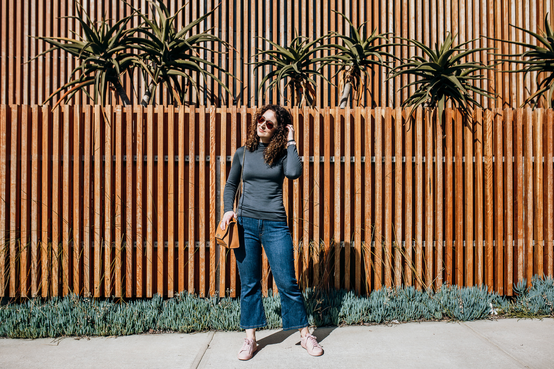 Megan Nielsen Rowan turtleneck in Merino jersey from The Fabric Store + Cropped flare Ash jeans in stretch denim from MRecht