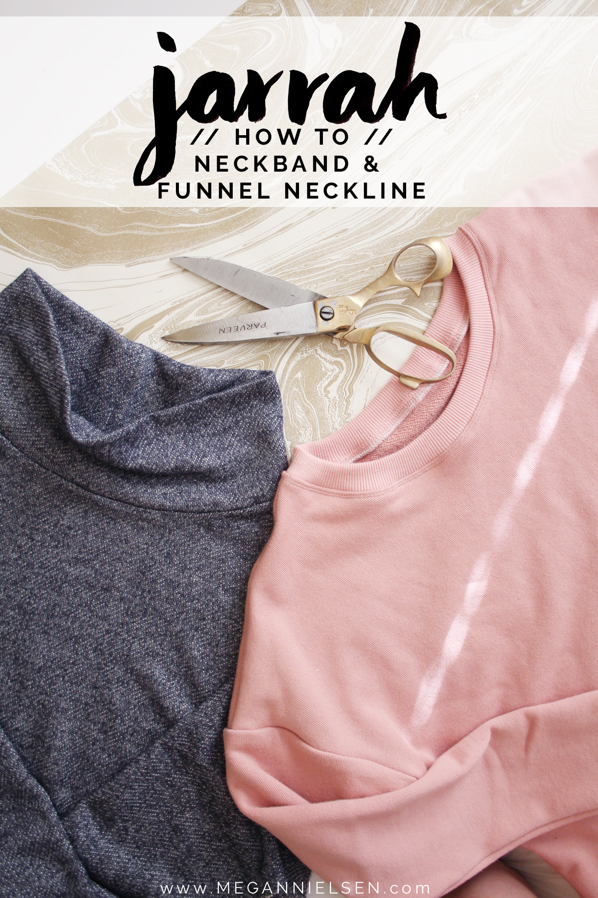 How to sew the neckband or funnel neck on the Jarrah sweater by Megan Nielsen Patterns