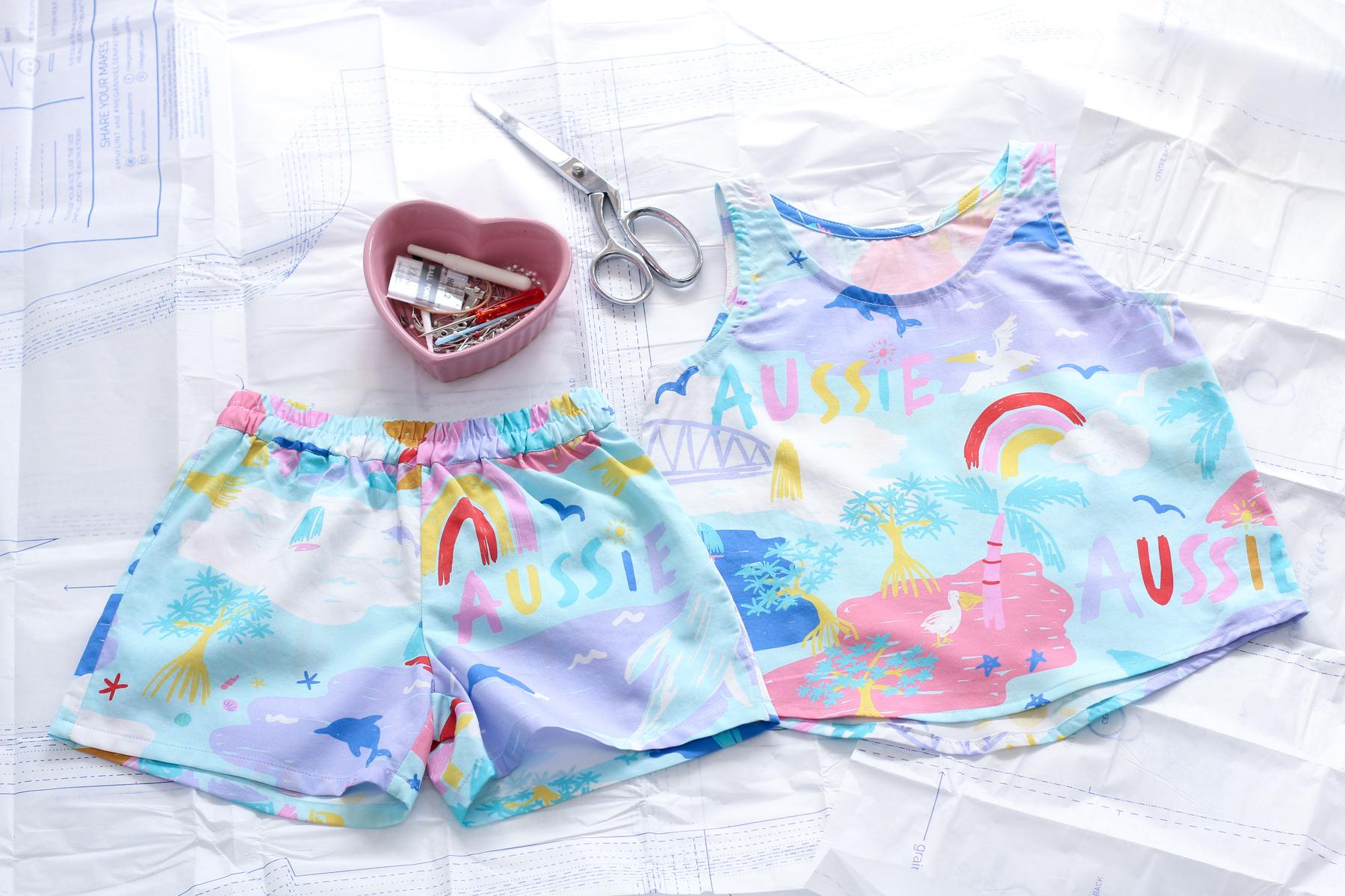 Christmas Pajamas in Ellie Whittaker Gone Coastal Fabric