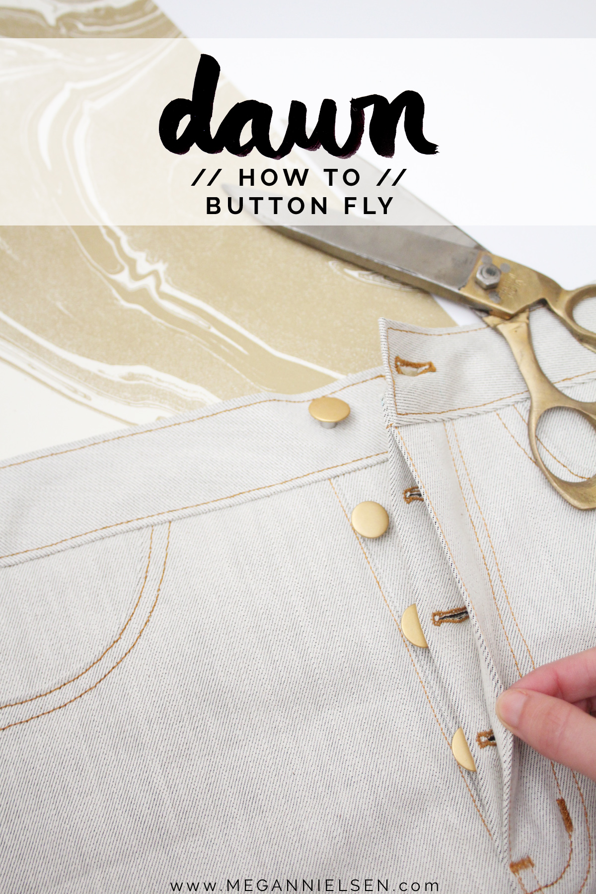 how to sew a button fly on the Dawn jeans by Megan Nielsen Patterns
