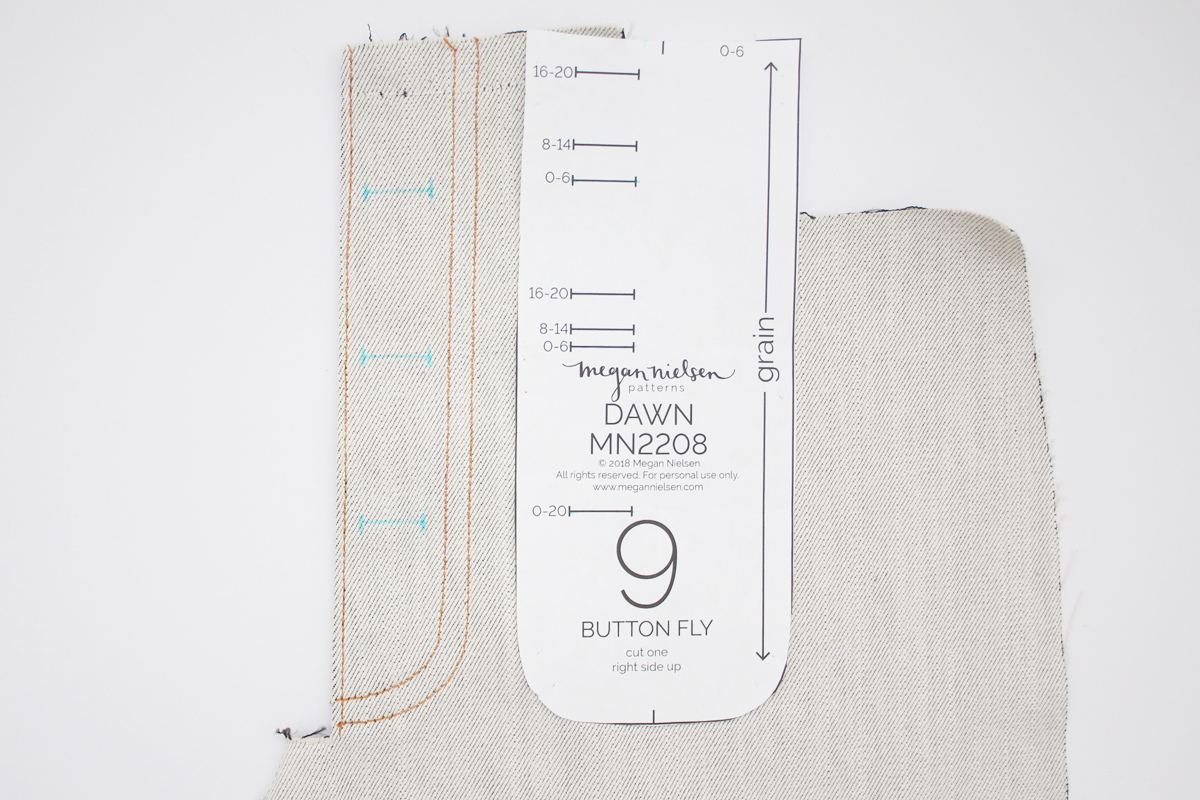 how to sew an exposed button fly on the Dawn jeans by Megan Nielsen Patterns