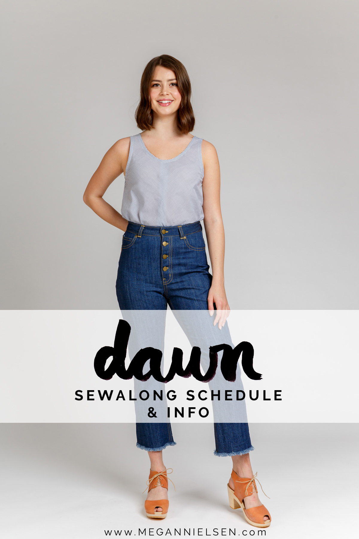 Sewalong schedule and info for the Dawn jeans by Megan Nielsen Patterns