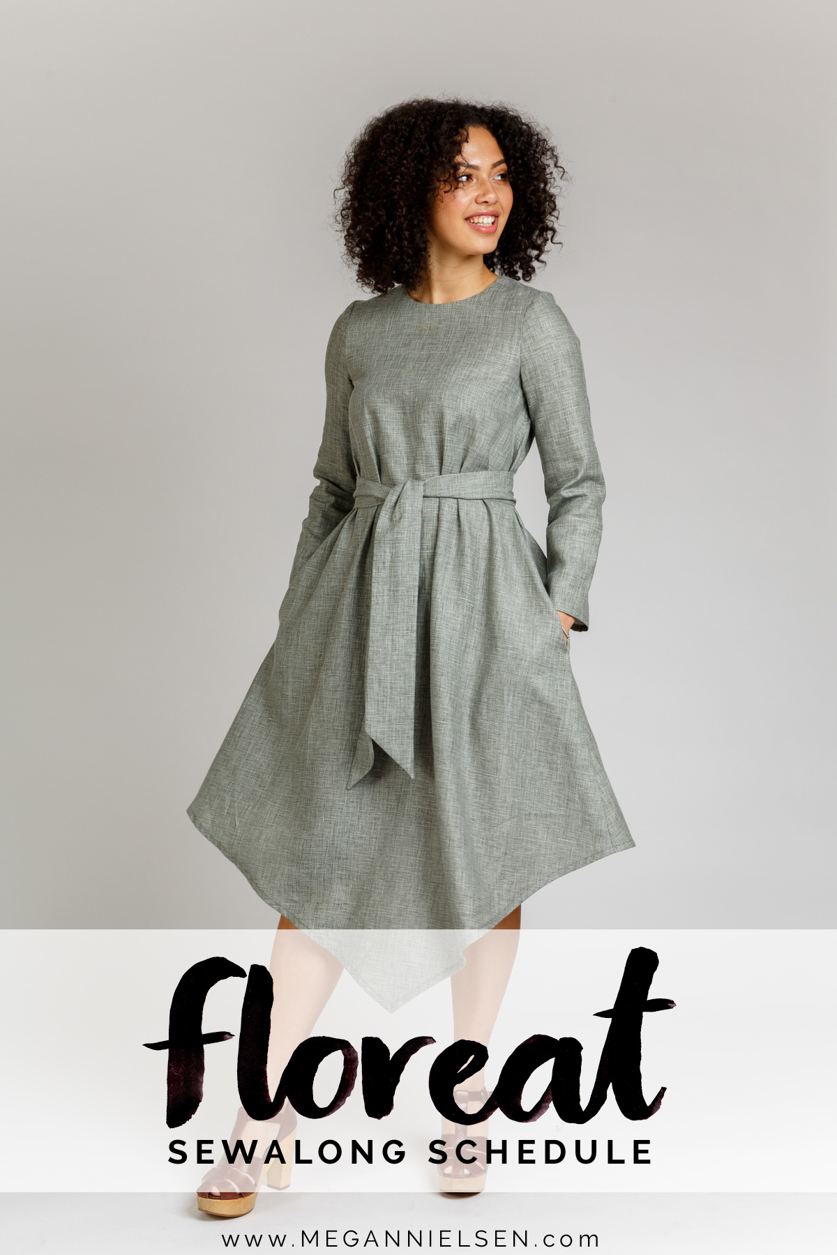 sewalong schedule for the Floreat dress and blouse by Megan Nielsen Patterns