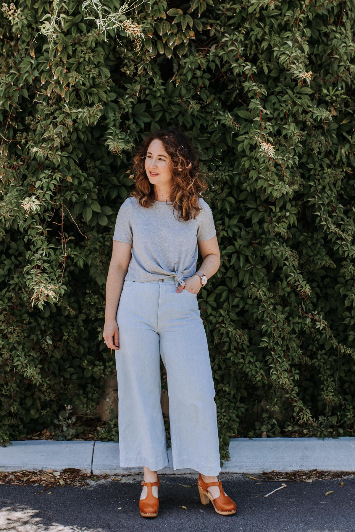 Megan Nielsen wide leg Dawn jeans in light enzyme wash denim + Floreat knit crop top in grey marle