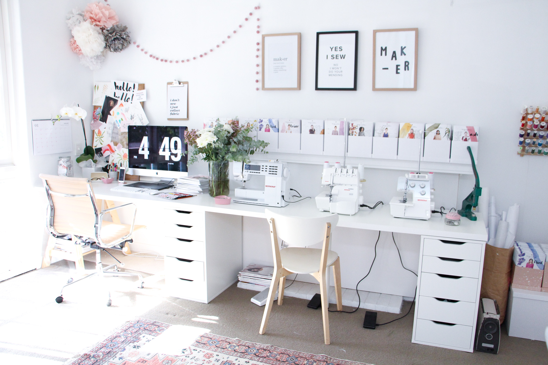 A tour of Megan Nielsen's workroom // A stylish home office with multiple workspaces included sewing space