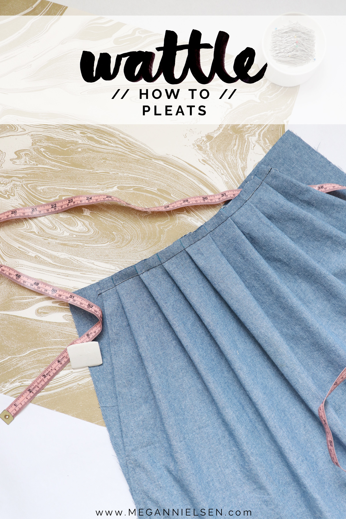 how to sew the pleats on the Wattle skirt by Megan Nielsen Patterns