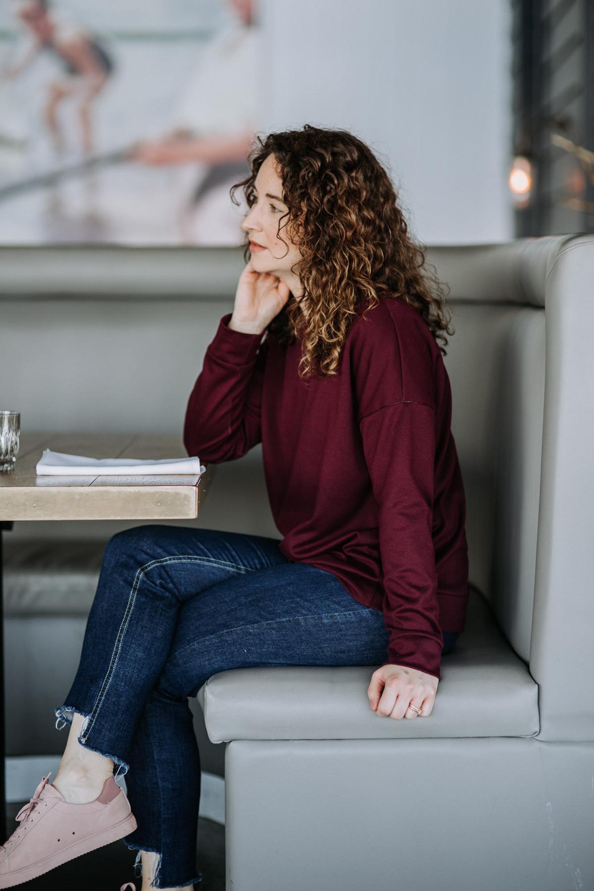Megan Nielsen Jarrah sweatshirt in comfy Ponte knit