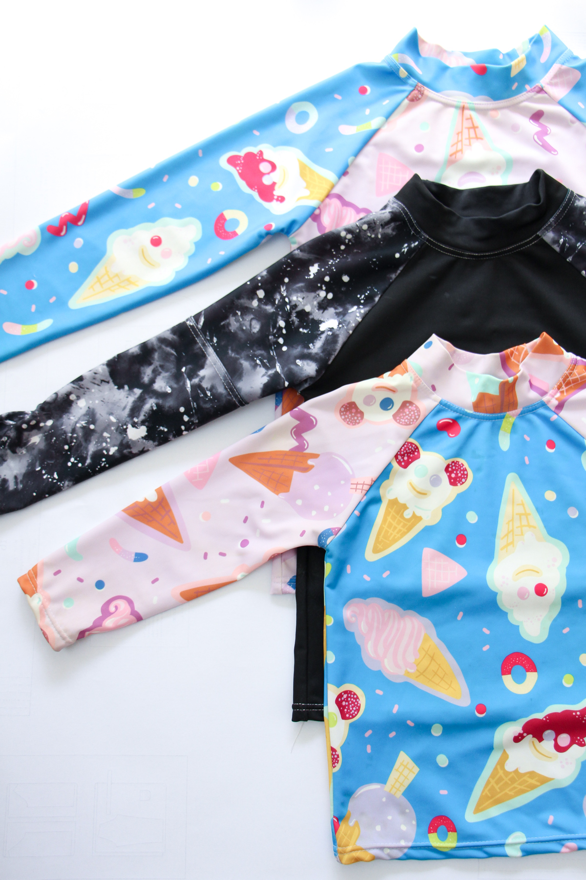 Boo Designs Rashie's made using Ellie Whittaker Creamy Ice Dreamy swim lycra // Megan Nielsen Design Diary