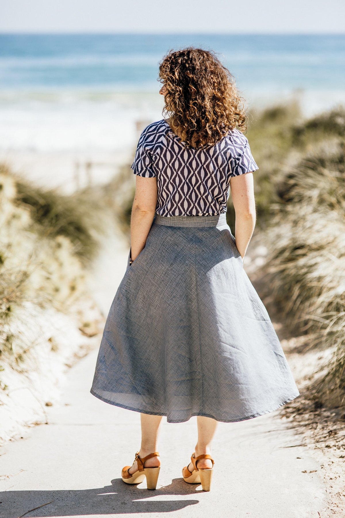 Megan Nielsen Wattle midi skirt in printed linen