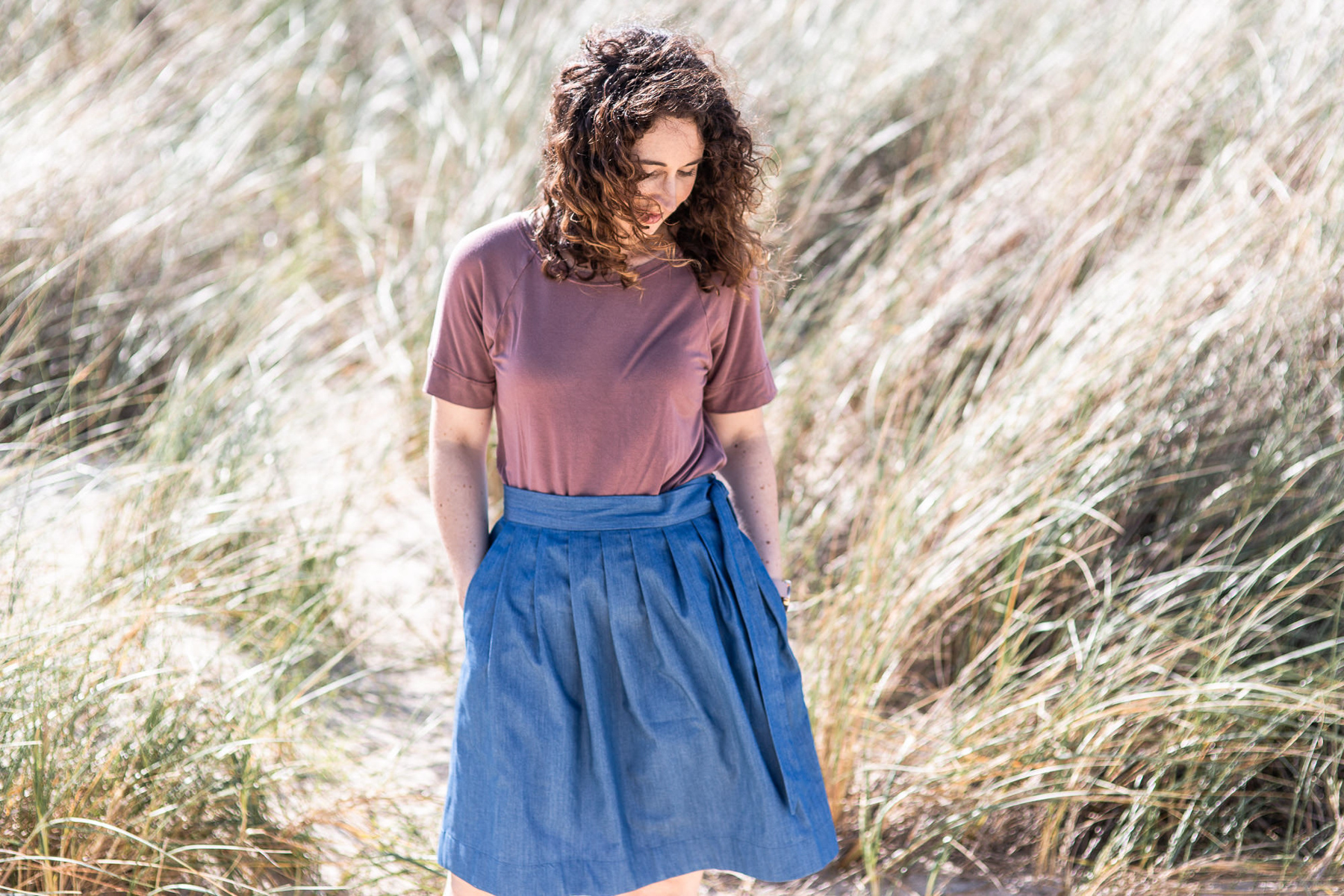 Megan Nielsen pleated Wattle skirt in chambray + pink River knit top
