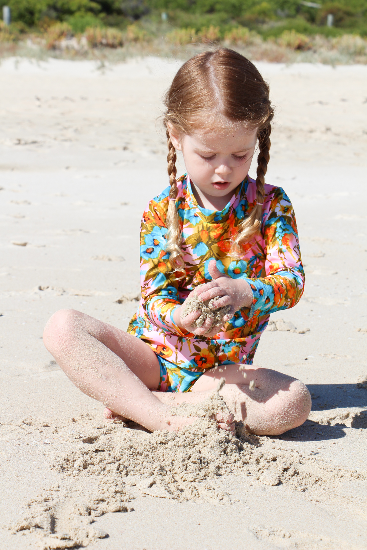 Megan Nielsen handmade swimsuits at Bunker Bay WA