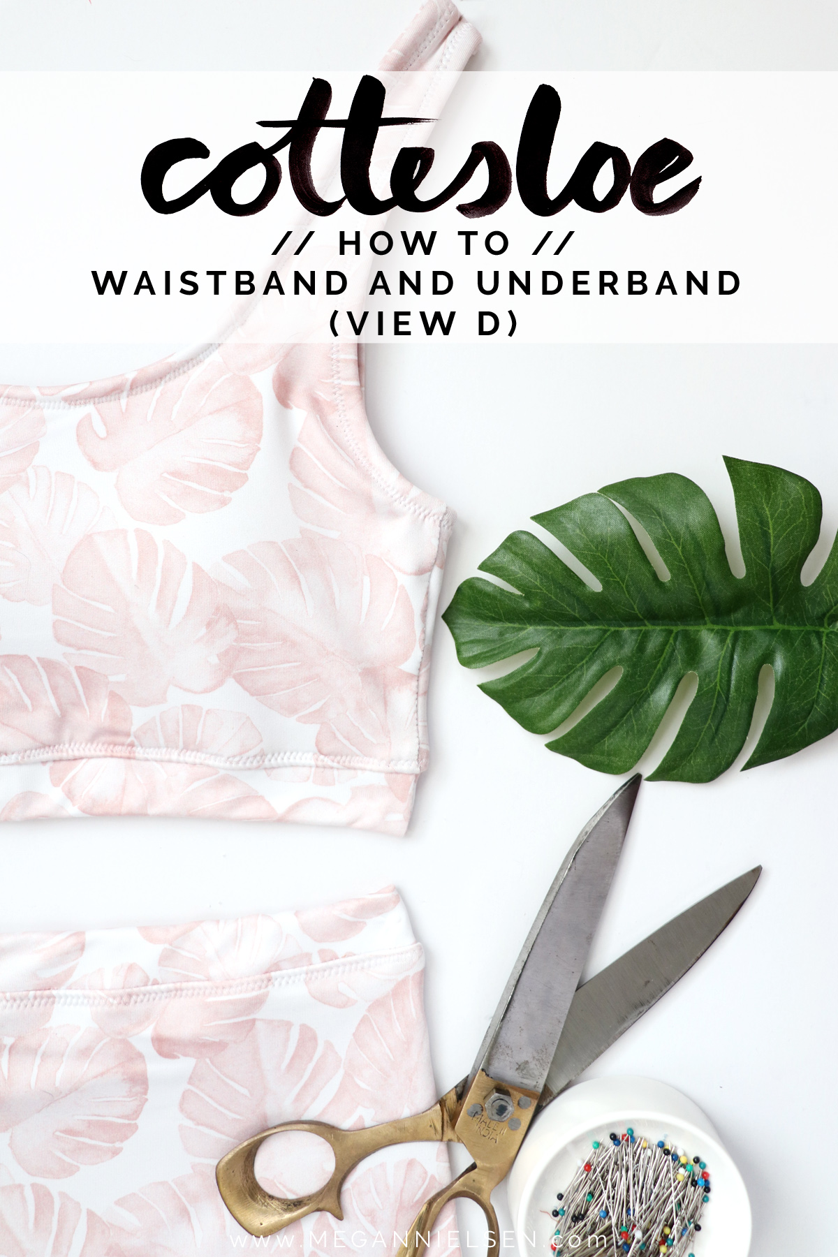 how to sew the waistband and underband for view D of the Cottesloe swimsuit by Megan Nielsen Patterns