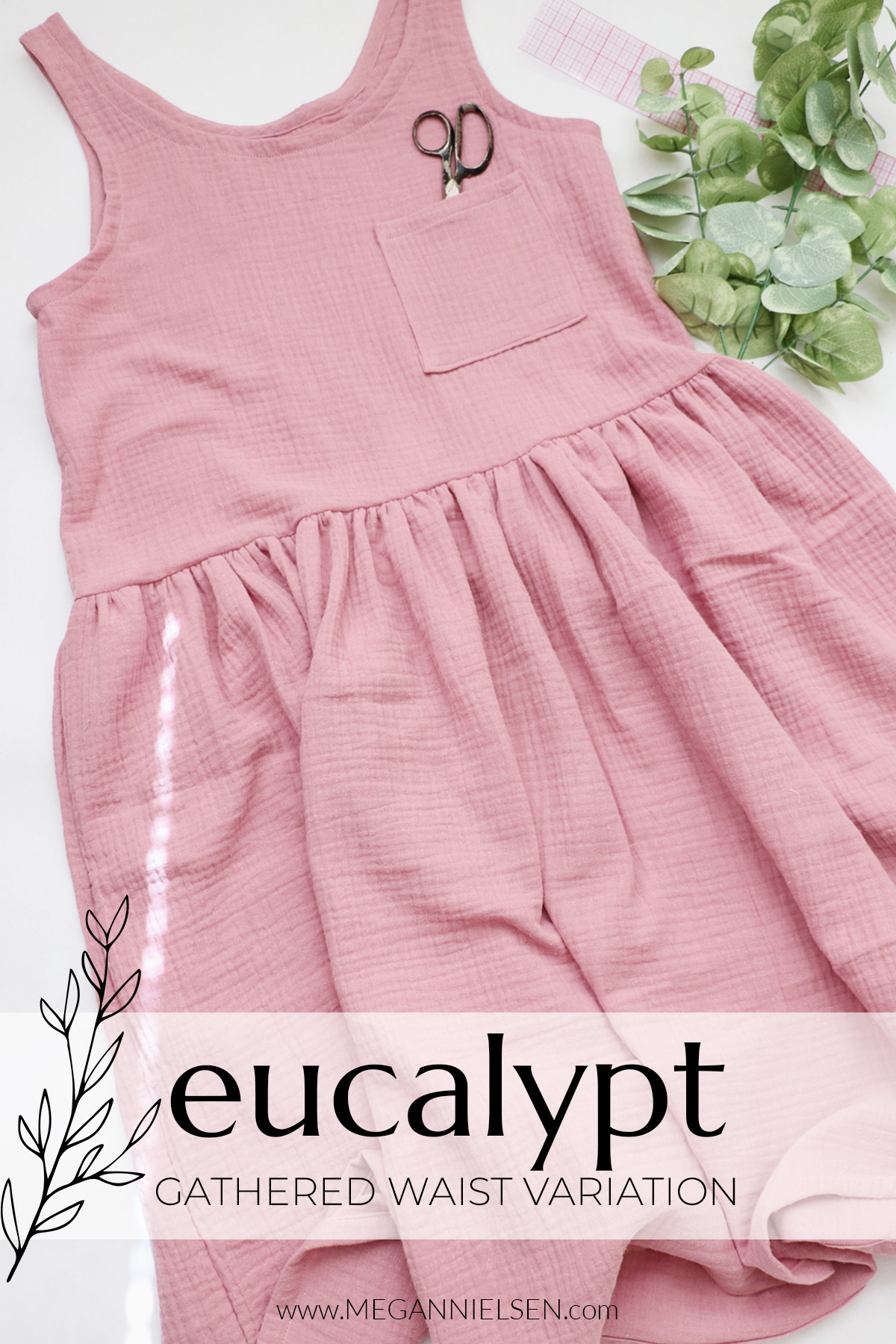 How to sew a gathered waist variation of the Eucalypt dress and op by Megan Nielsen patterns