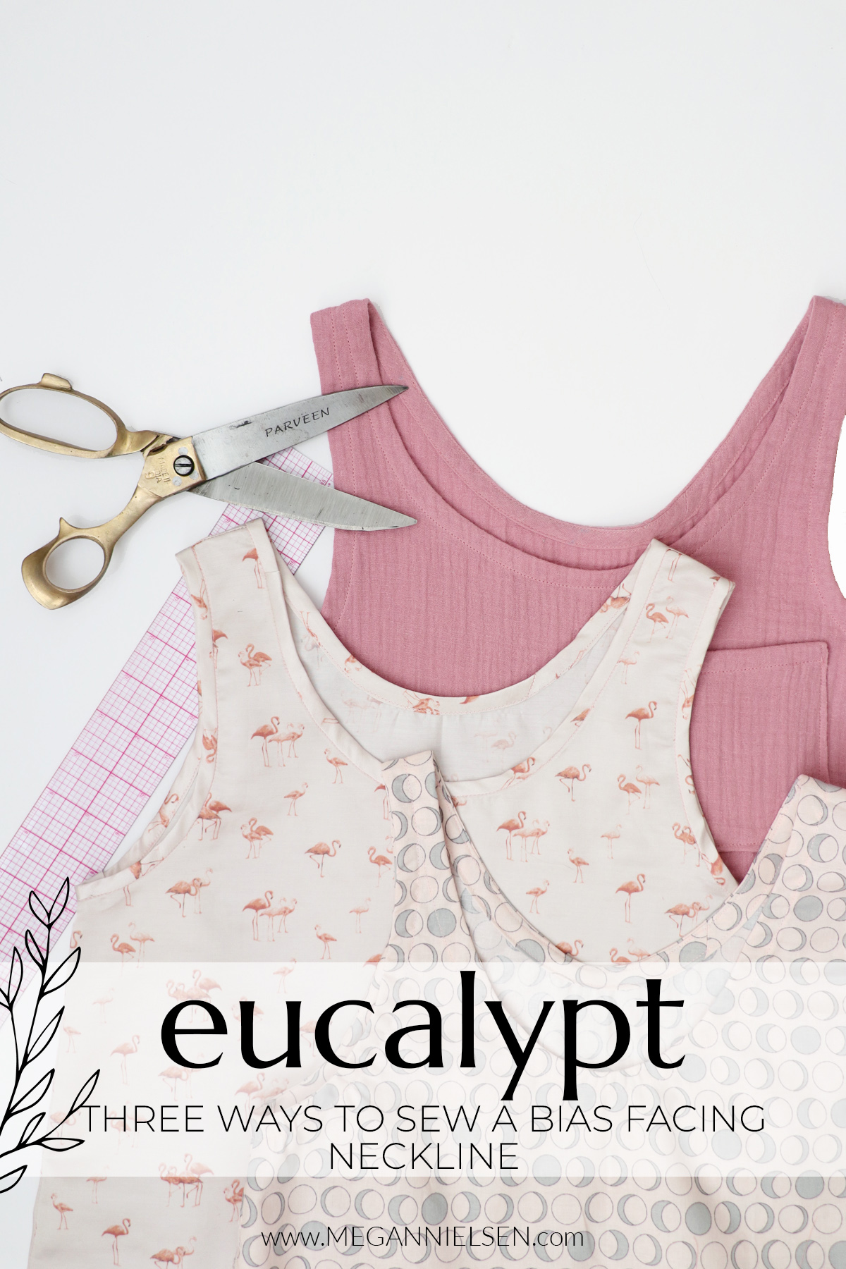 How to sew a bias facing neckline three ways for the Eucalypt dress and top pattern