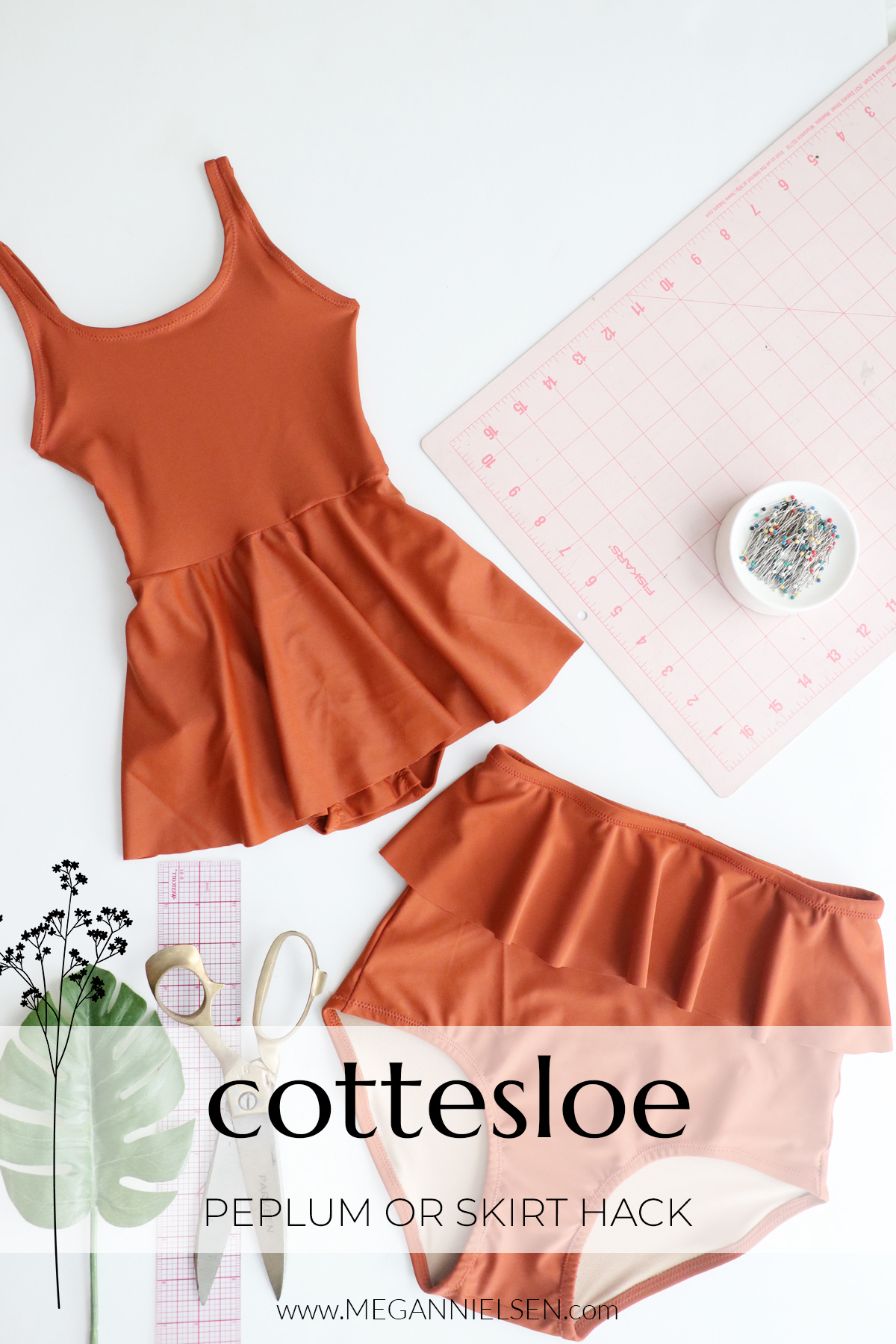 How to add a skirt or peplum to the Cottesloe swim suit by Megan Nielsen patterns
