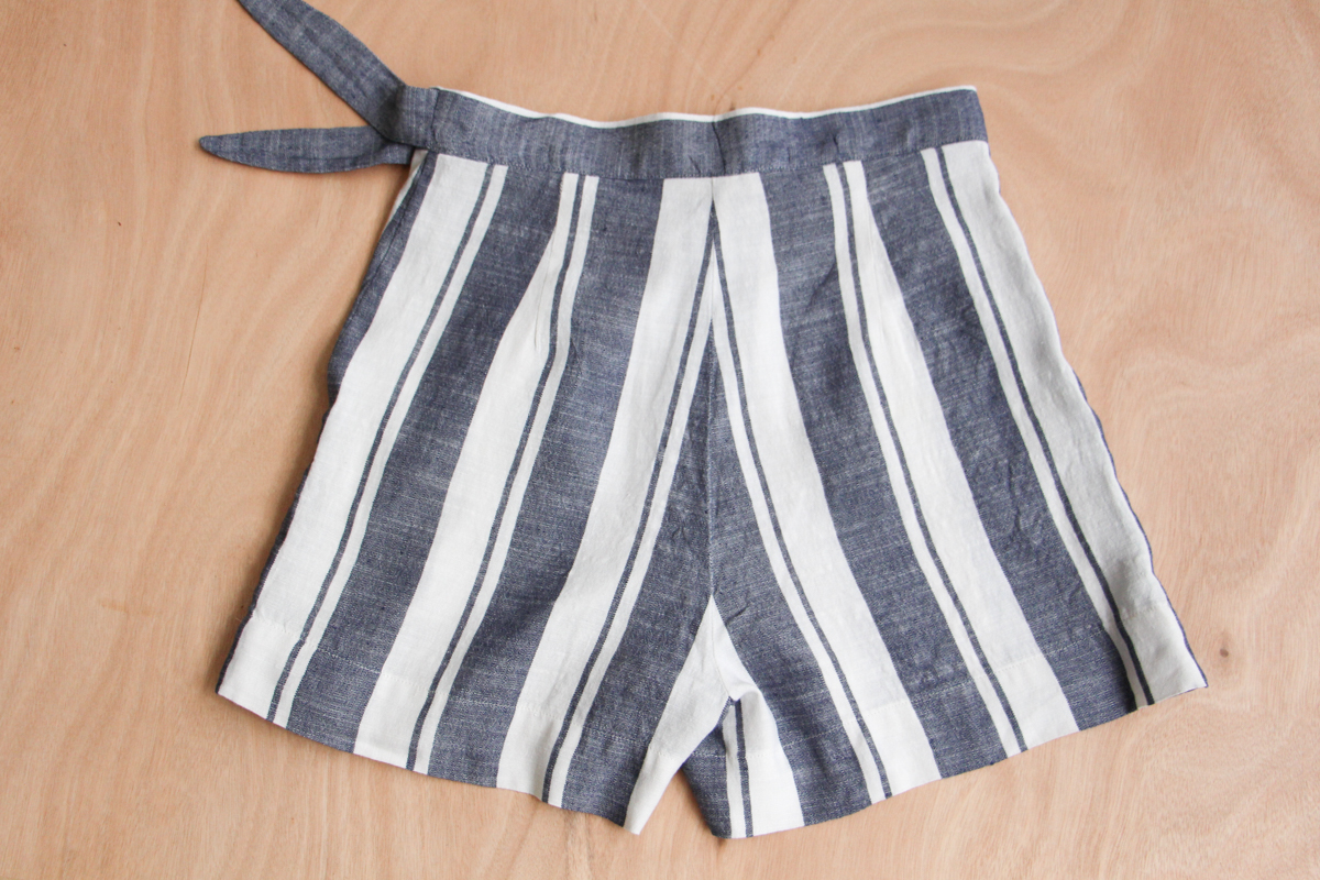 Obsessively matched striped linen Flint shorts // Megan Nielsen Design Diary