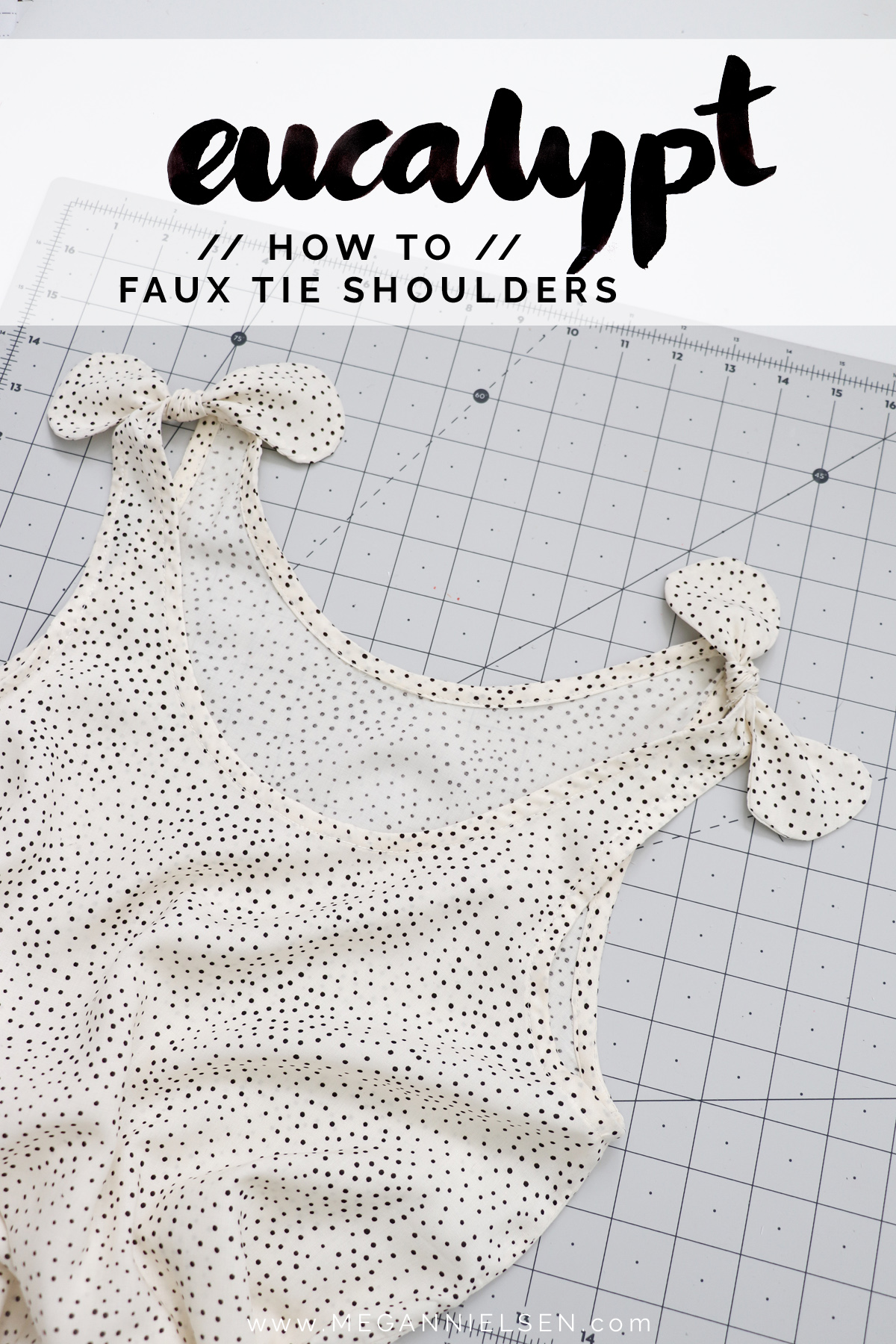 how to add faux ties to the straps of the Eucalypt tank and dress by Megan Nielsen Patterns