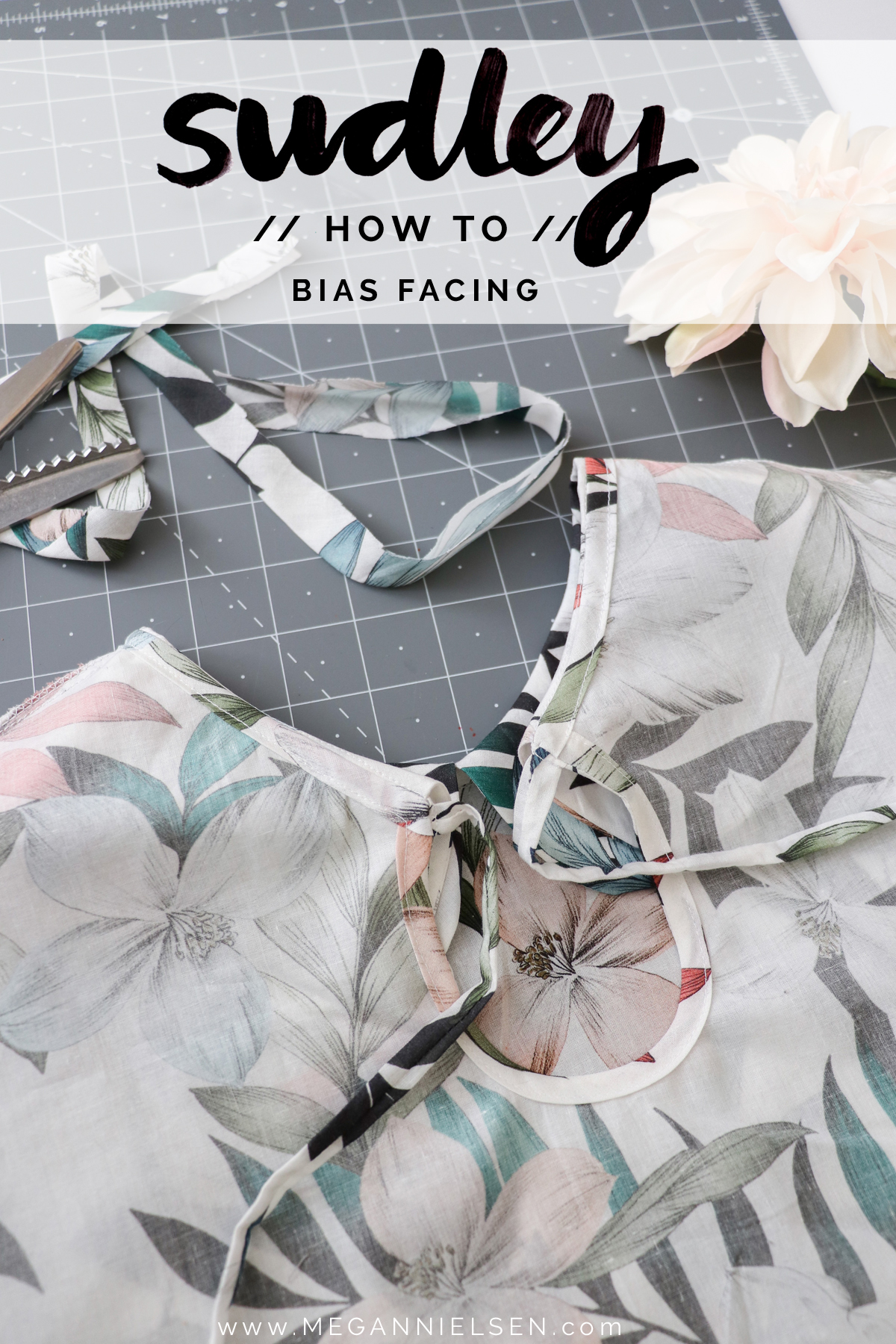 how to sew bias facing on the Sudley blouse and dress by Megan Nielsen Patterns