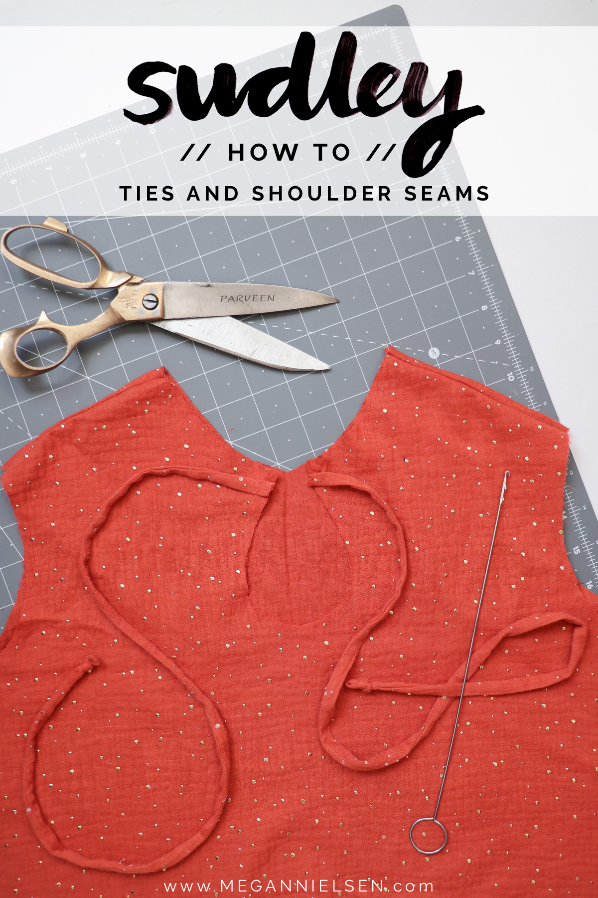 how to sew the ties on the Sudley blouse and dress by Megan Nielsen Patterns