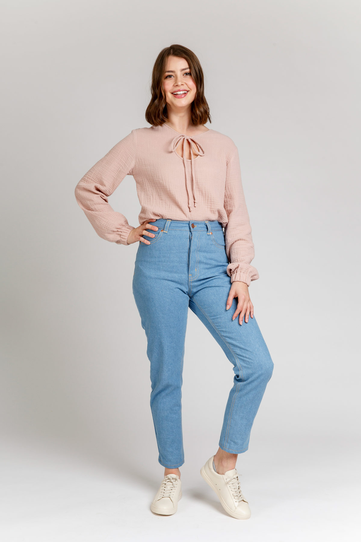 Megan Nielsen Sudley Curve long sleeve blouse View D includes long sleeves with elastic cuffs and lovely long ties. Keyhole can be worn at the back or front of this clever design.
