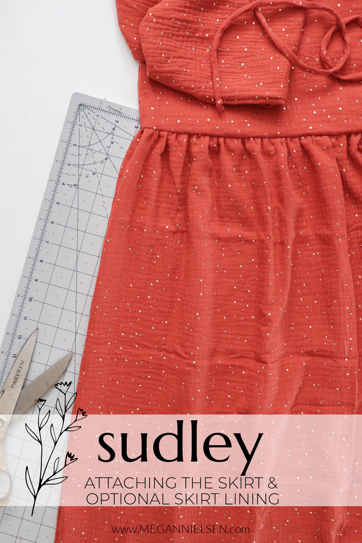 Sudley sewalong attaching the skirt and optional lining to the Sudley top and dress pattern