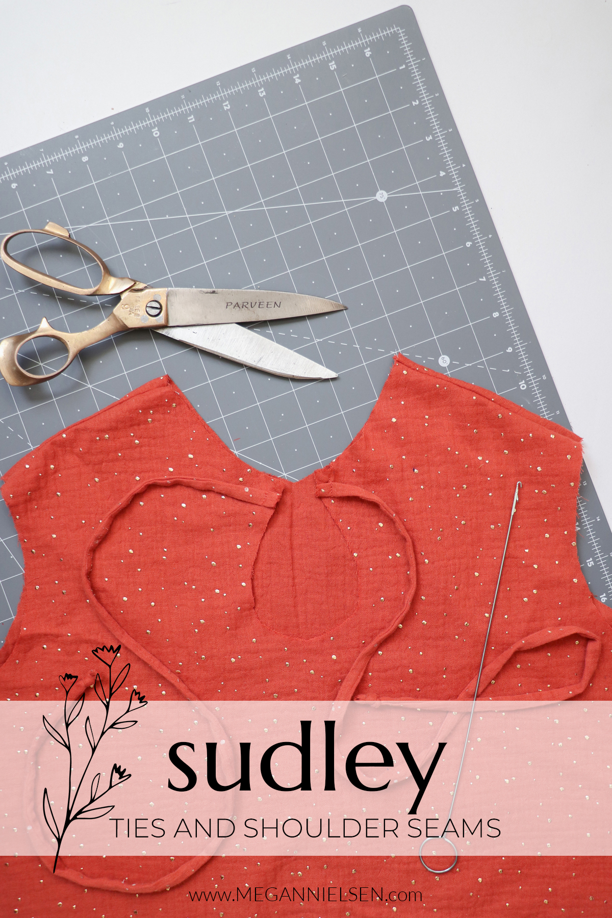 Sudley sewalong how to sew the ties and shoulder seams on the Sudley top and dress