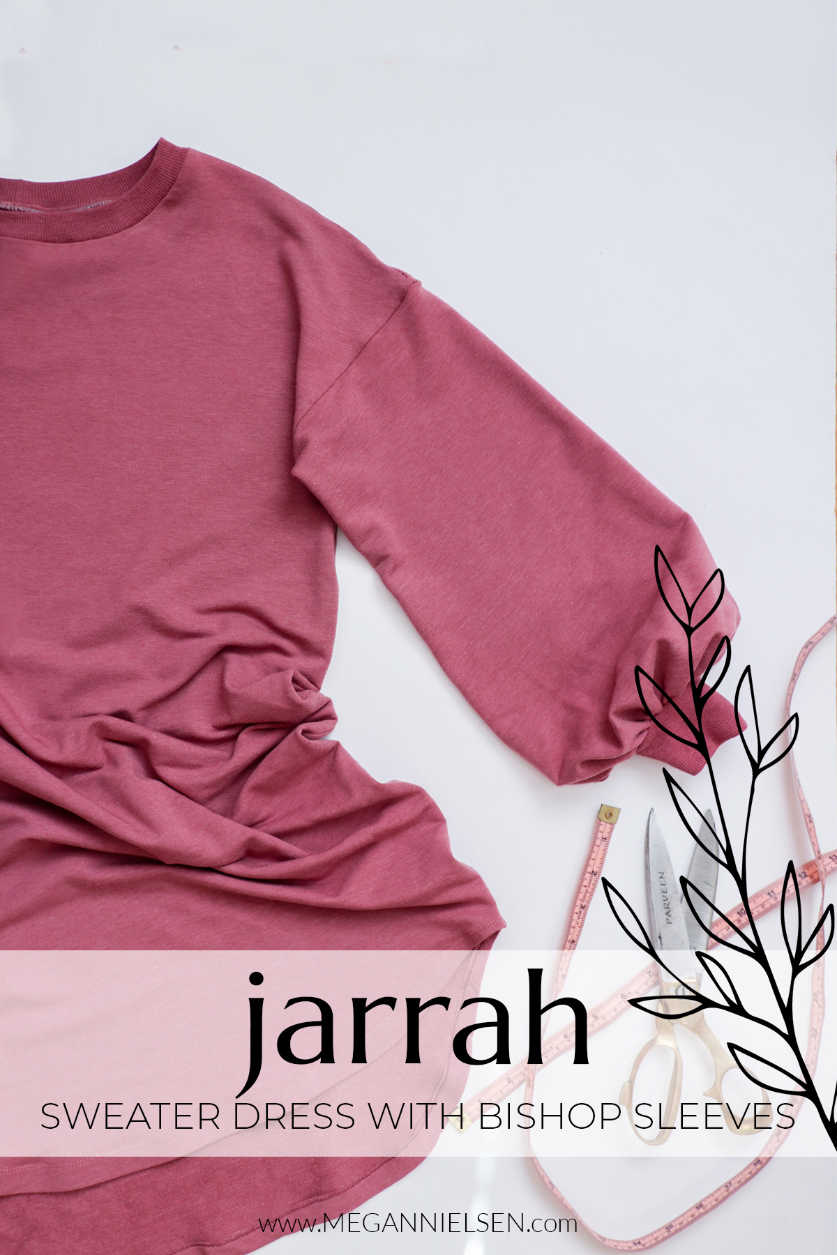 How to sew Jarrah as a dress with bishop sleeves