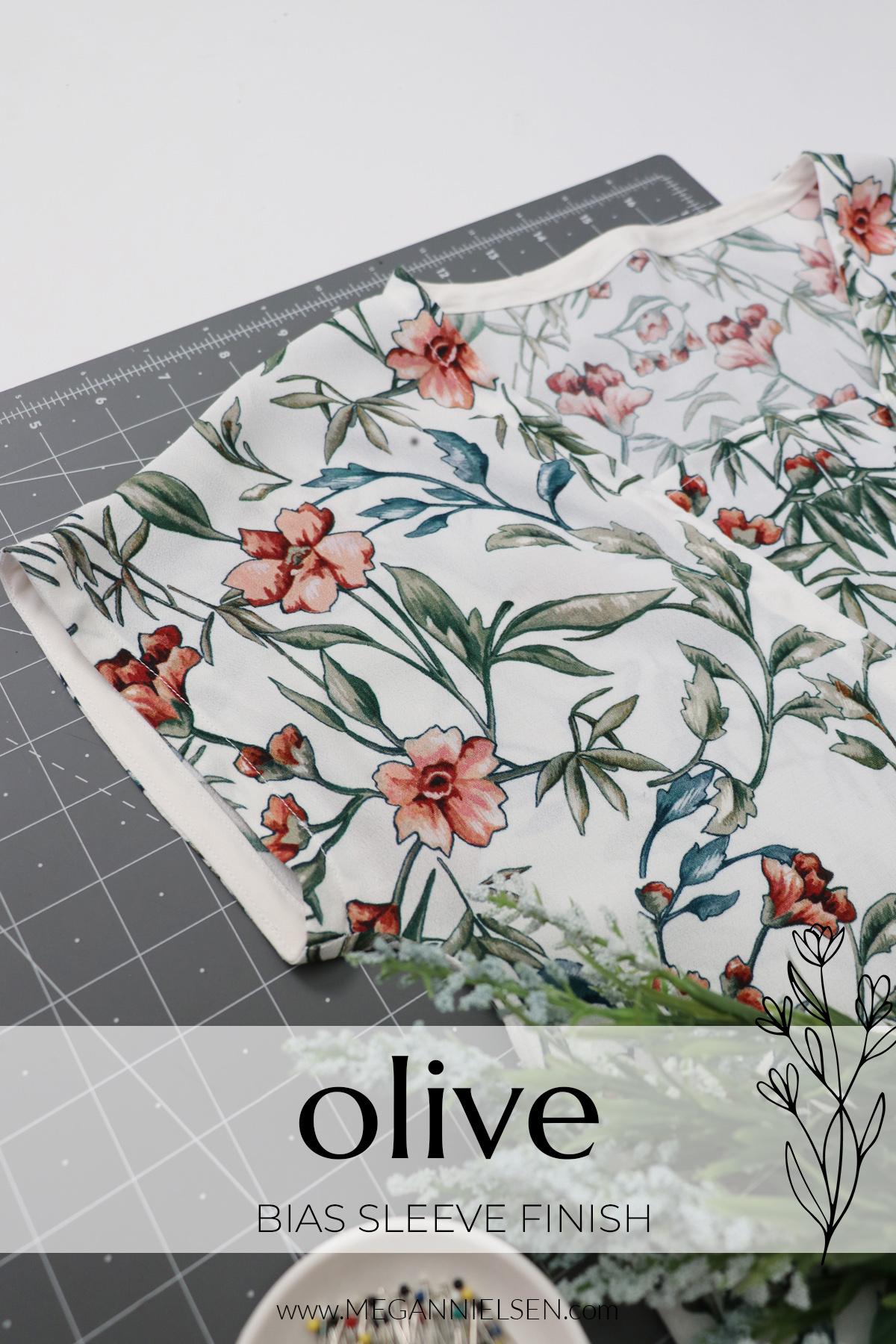 Olive sewalong bias sleeve finish