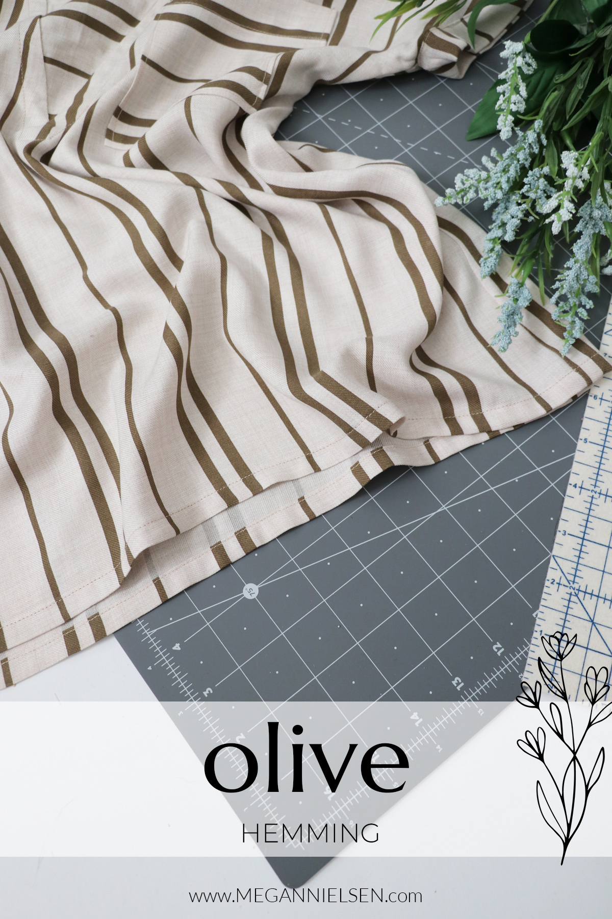 Olive sewalong hemming the Olive top and dress