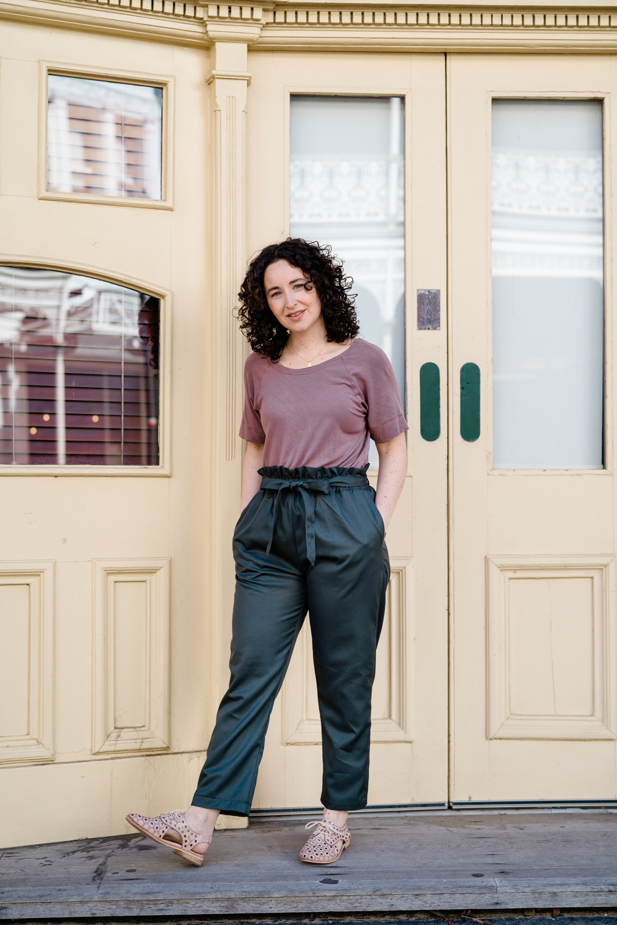 Opal Pants Sewing made from $1 Poly twill Megan Nielsen Blog