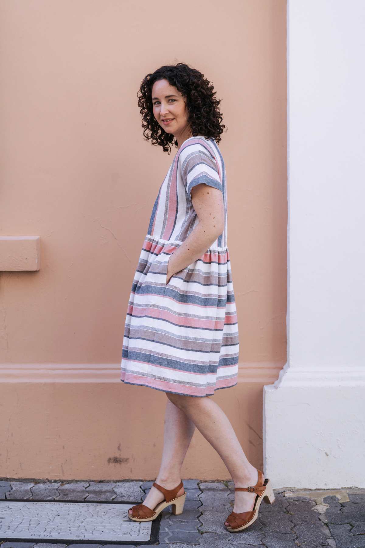 Meg's stripe matching overload Olive dress! Megan Nielsen Patterns Blog