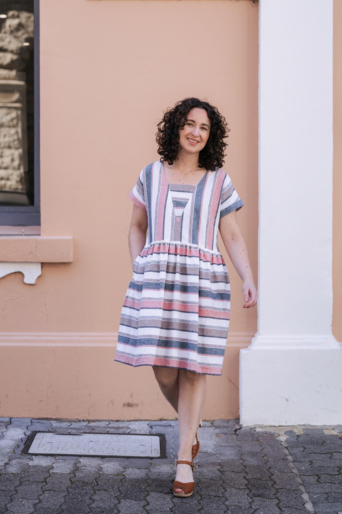 Meg's stripe matching overload Olive dress! Megan Nielsen Patterns Blog
