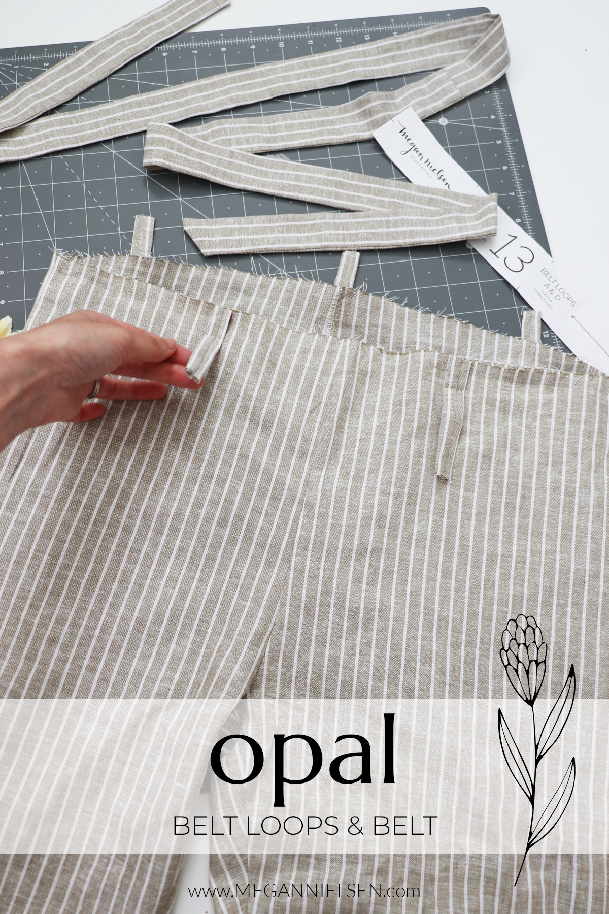 Opal sewalong belt and belt loops for the Opal pants and shorts pattern