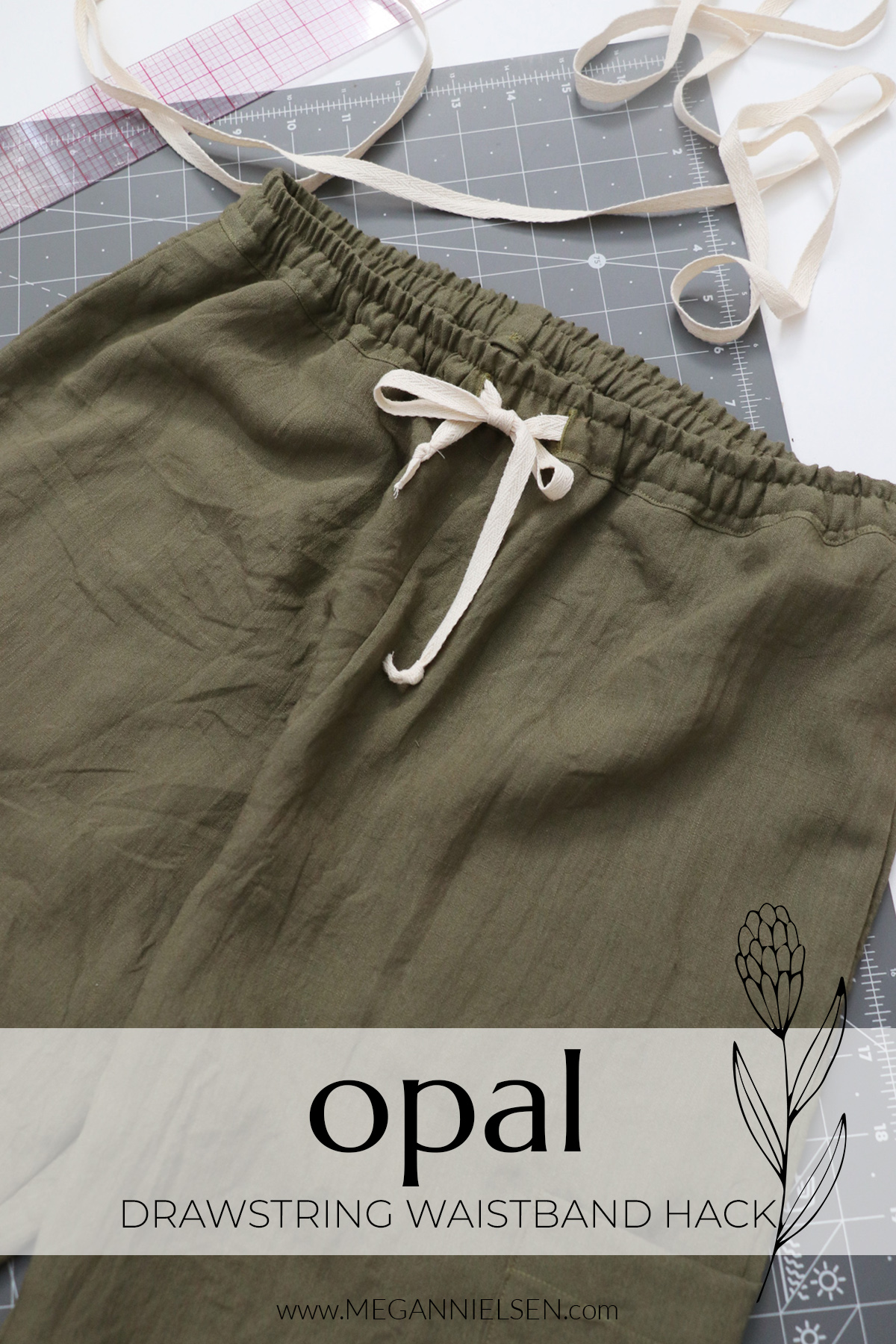 Drawstring waistband hack for the Opal pants and shorts pattern