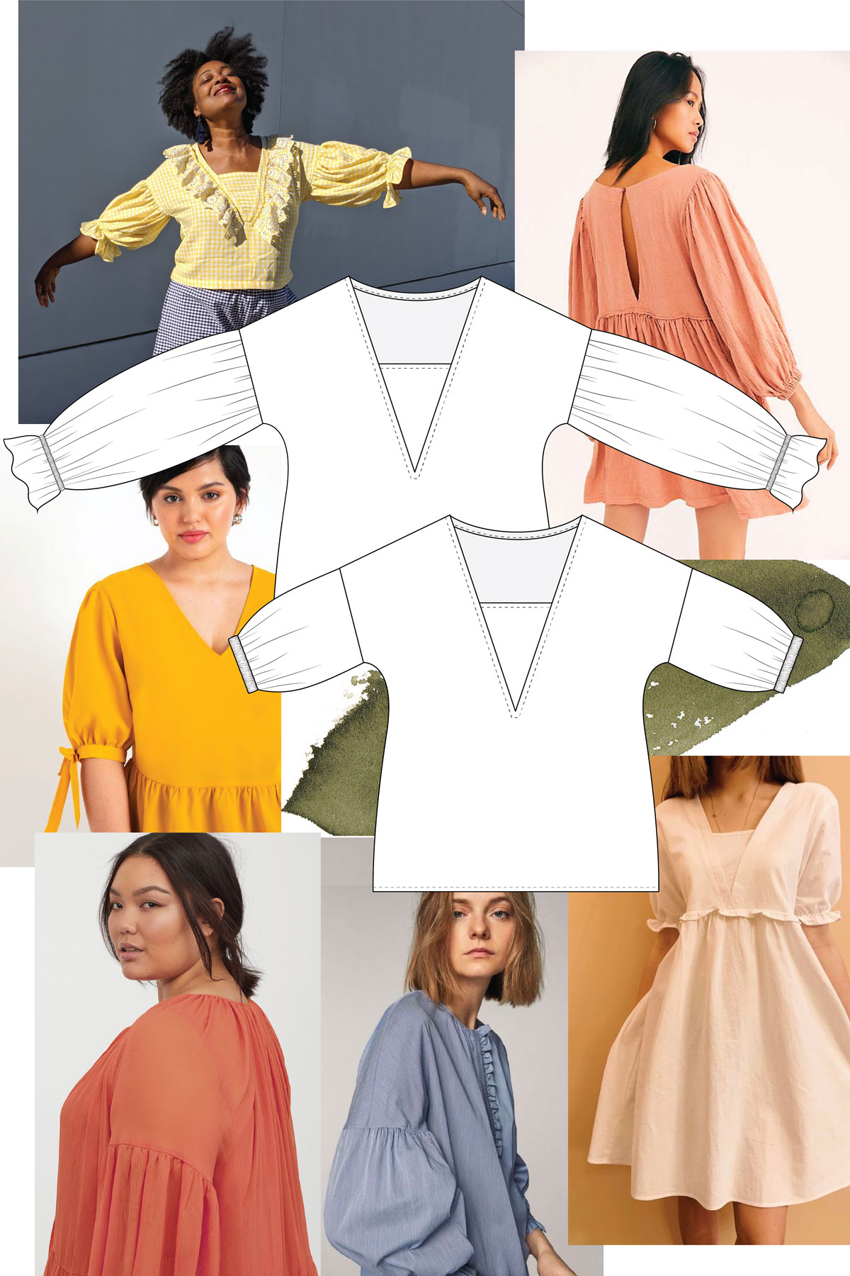 Flounce up your Olive top with poet sleeves! Megan Nielsen Patterns Blog