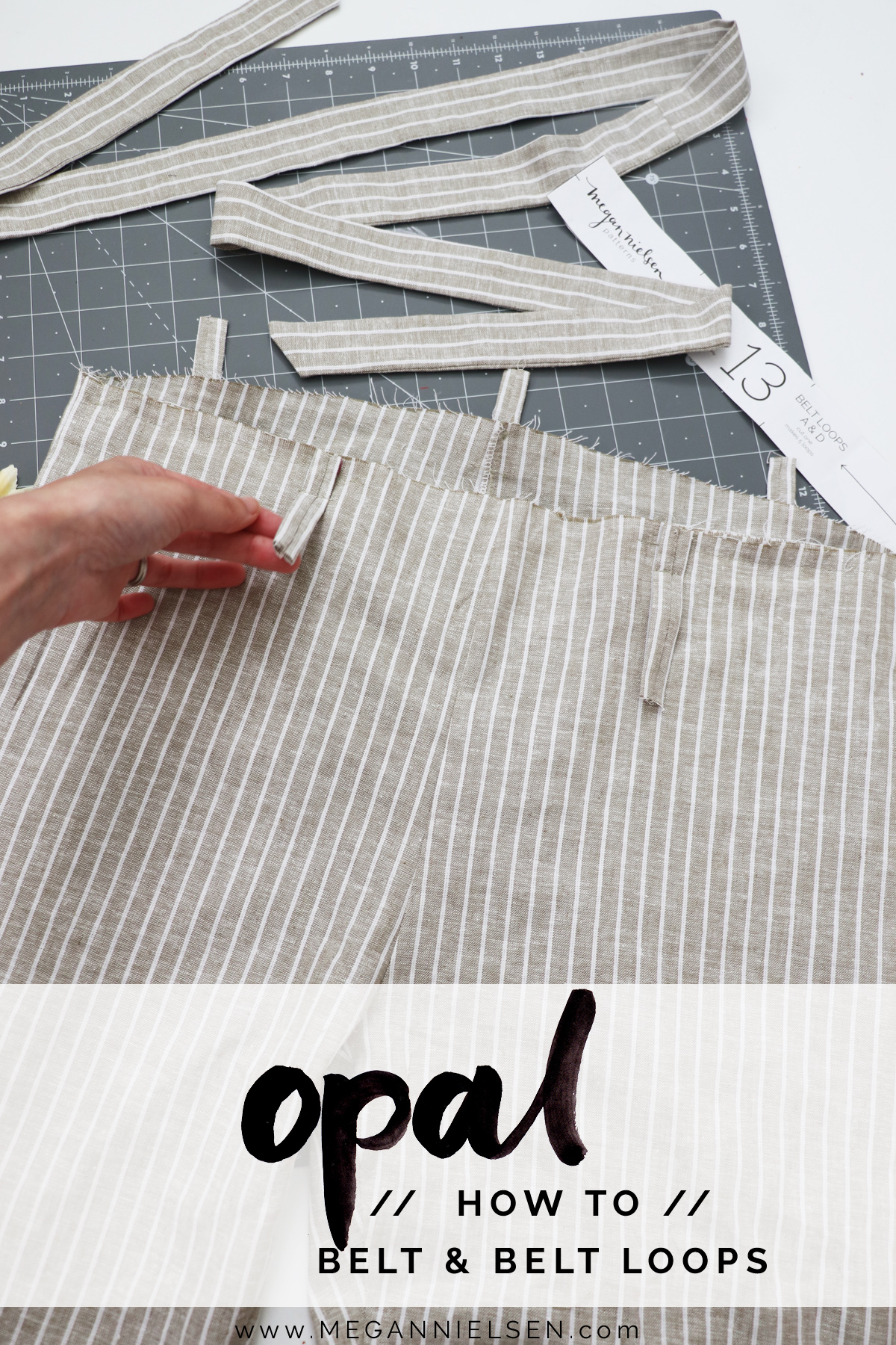 how to sew the belt loops and belt on the Opal pants and shorts by Megan Nielsen Patterns