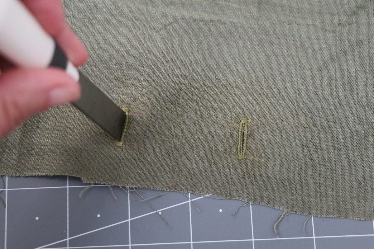 Opal Pants And Shorts - Drawstring Hack Step 5 - Cut Buttonholes Open