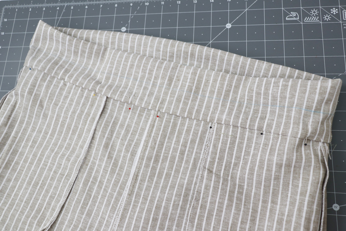 Opal Pant - Paperbag Waist Tutorial Step 11 - Press & Pin