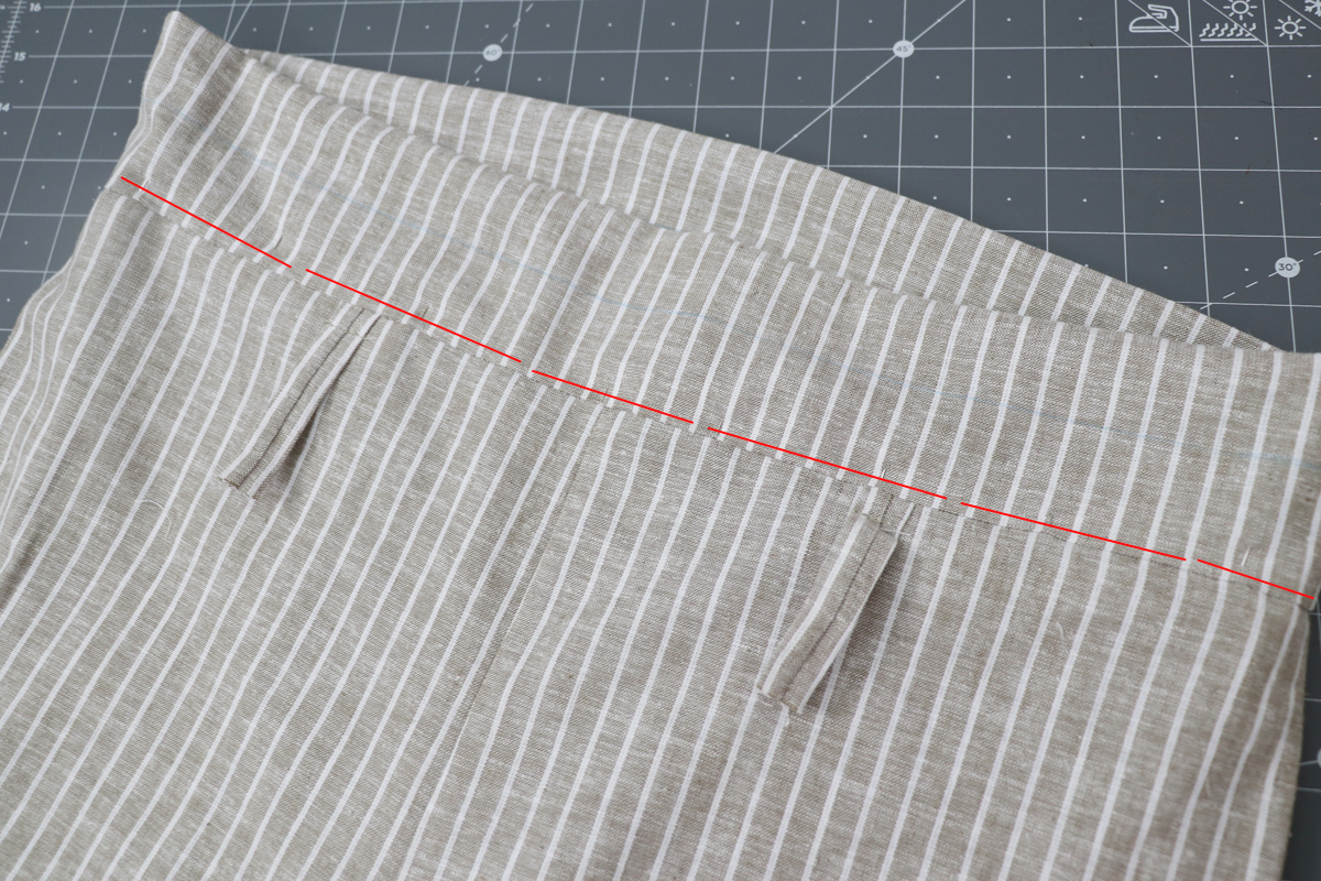 Opal Pant - Paperbag Waist Tutorial Step 12 - Top Stitch or Ditch Stitch