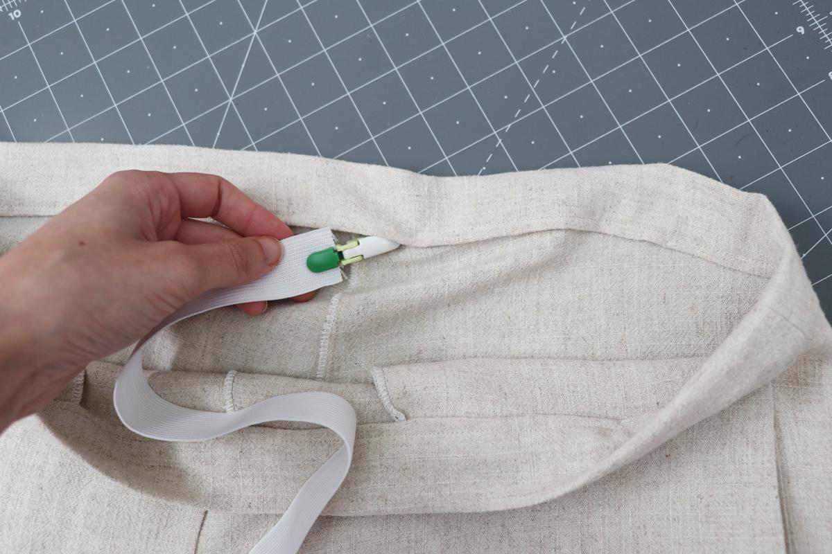 Opal Pants And Shorts - Standard Waistband Tutorial Step 14 - Thread Elastic Through Waistband