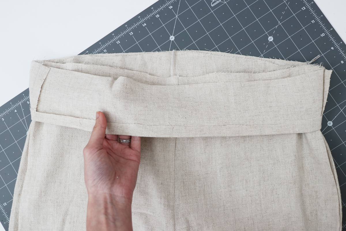 Opal Pants And Shorts - Standard Waistband Tutorial Step 6 - Place Waistband Over Pants